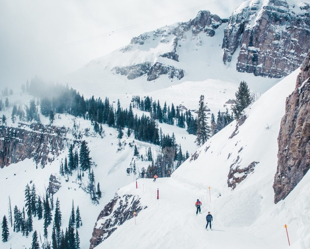 Making a High Traverse at the Jackson Hole Mountain Resort