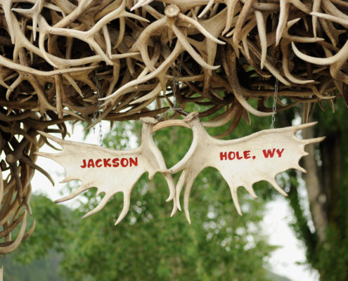 Jackson Hole Wyoming antler sign